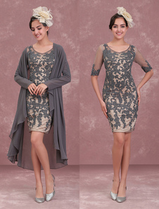 Mother Of The Bride Dresses Two Piece Lace Sheath Half Sleeve Short Occasion Dress With Jacket