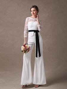 Wedding Jumpsuits Ivory Long Sleeve Lace Applique Ribbon Sash Illusion Cutoff Wide Leg Bridal Jumpsuit
