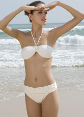 Modern Attractive White Two Pieces Chinlon Polyester Spandex Womens Swimsuit