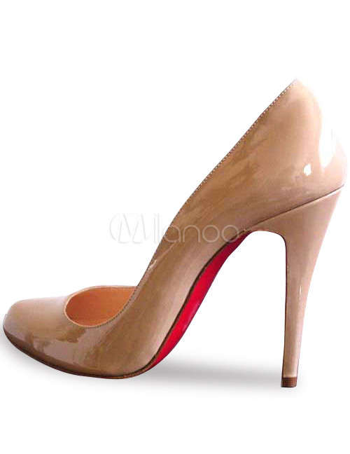 3 9/10'' High Heel Fleshcolor Patent Leather Pumps