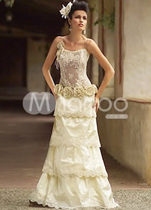 Champagne A-line Multi-layer Flower Spaghetti Taffeta Lace Wedding Dress