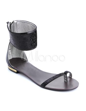 Trendy Black Flat Satin Fashion Sandals