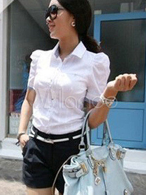 Fashional White Cotton Polyester Puff Sleeves Ladies Blouse