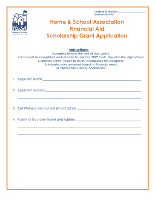 Scholarship Application – Home and School Association