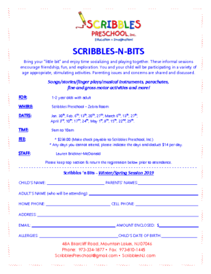 Scribbles N Bits Winter and Spring Registration