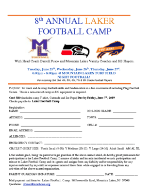 8th Annual Laker Football Camp
