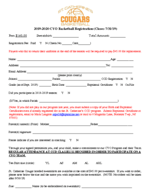 St. Catherine's CYO Basketball Registration