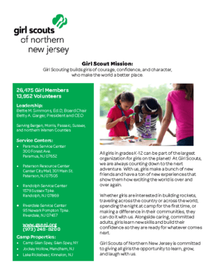 Girl Scouts of NNJ Fact Sheet