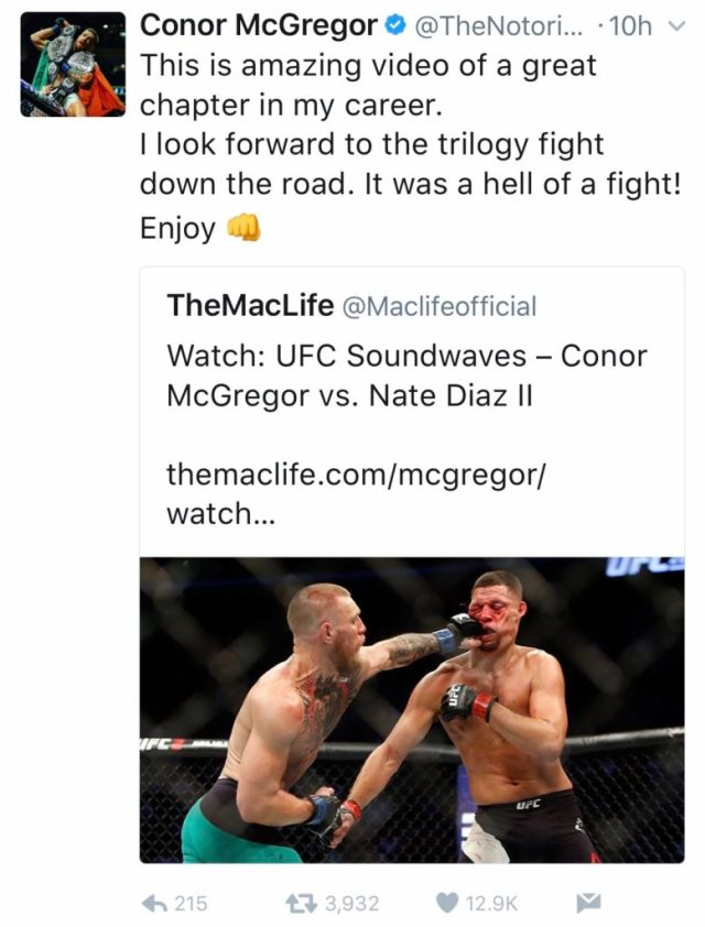 Conor stokes the Diaz trilogy fire -