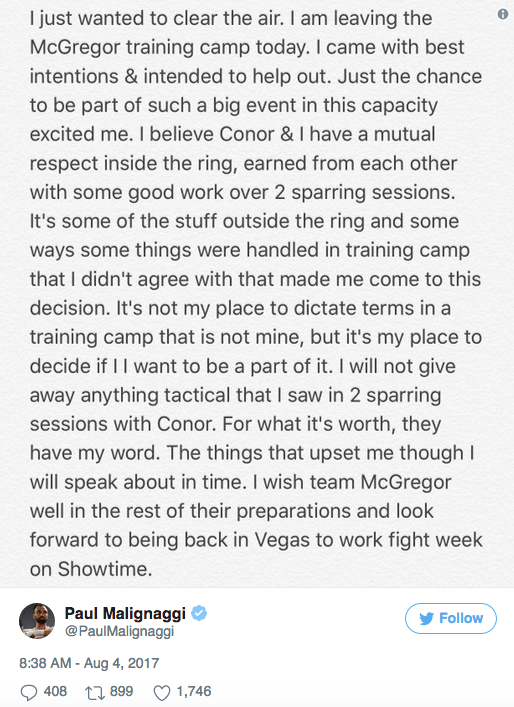 Paulie Malignaggi says bye bye to Conor Mcgregor's boxing camp -