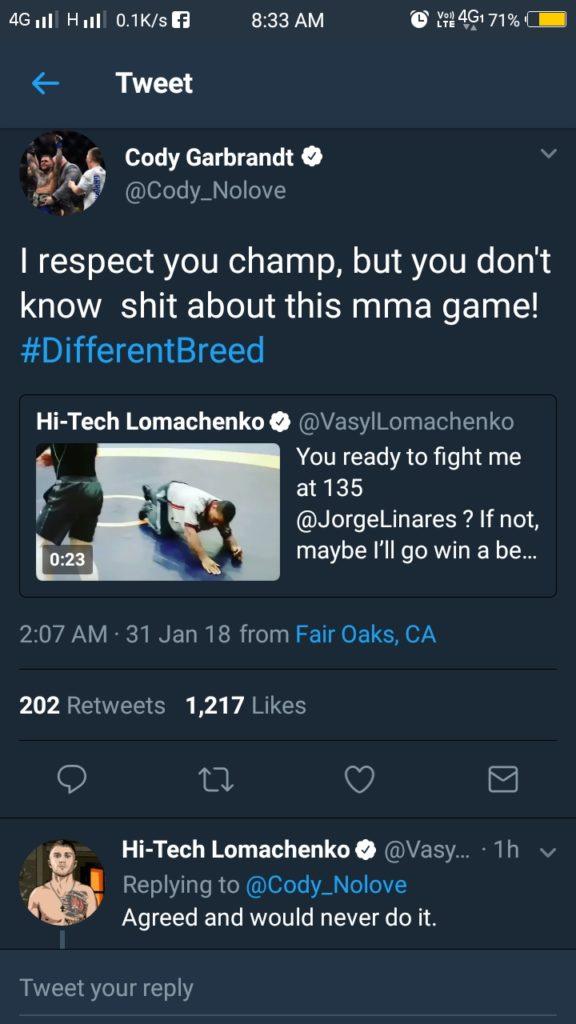 Vasyl Lomachenko and Cody Garbrandt exchanges words on Twitter -