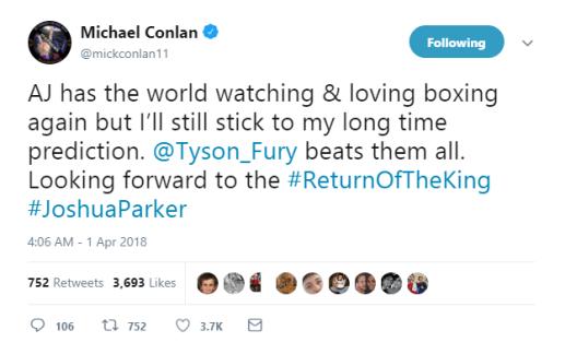 Boxing: Michael Conlan says Tyson Fury beats everyone at Heavyweight division - Joshua