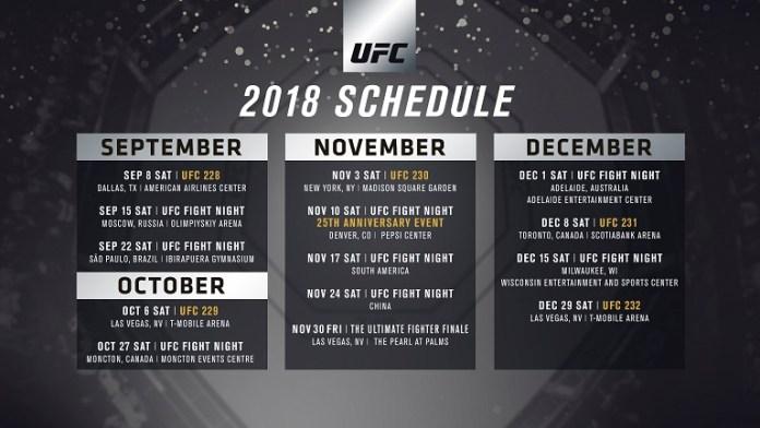 UFC Releases Complete Schedule For Remainder Of 2018 - UFC