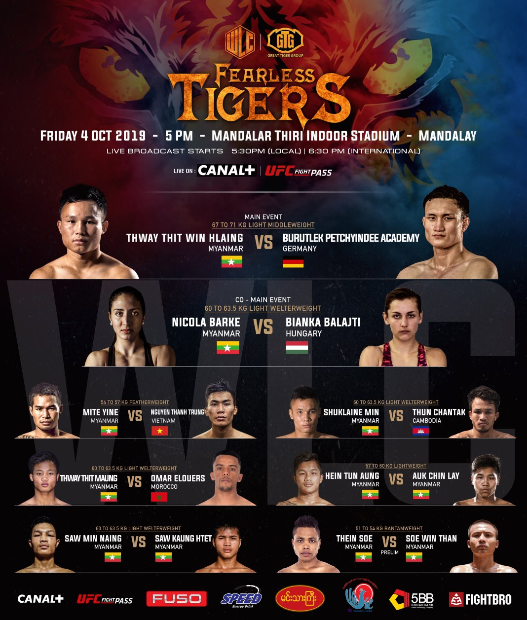 FULL FIGHT CARD FOR WLC: FEARLESS TIGERS RELEASED -
