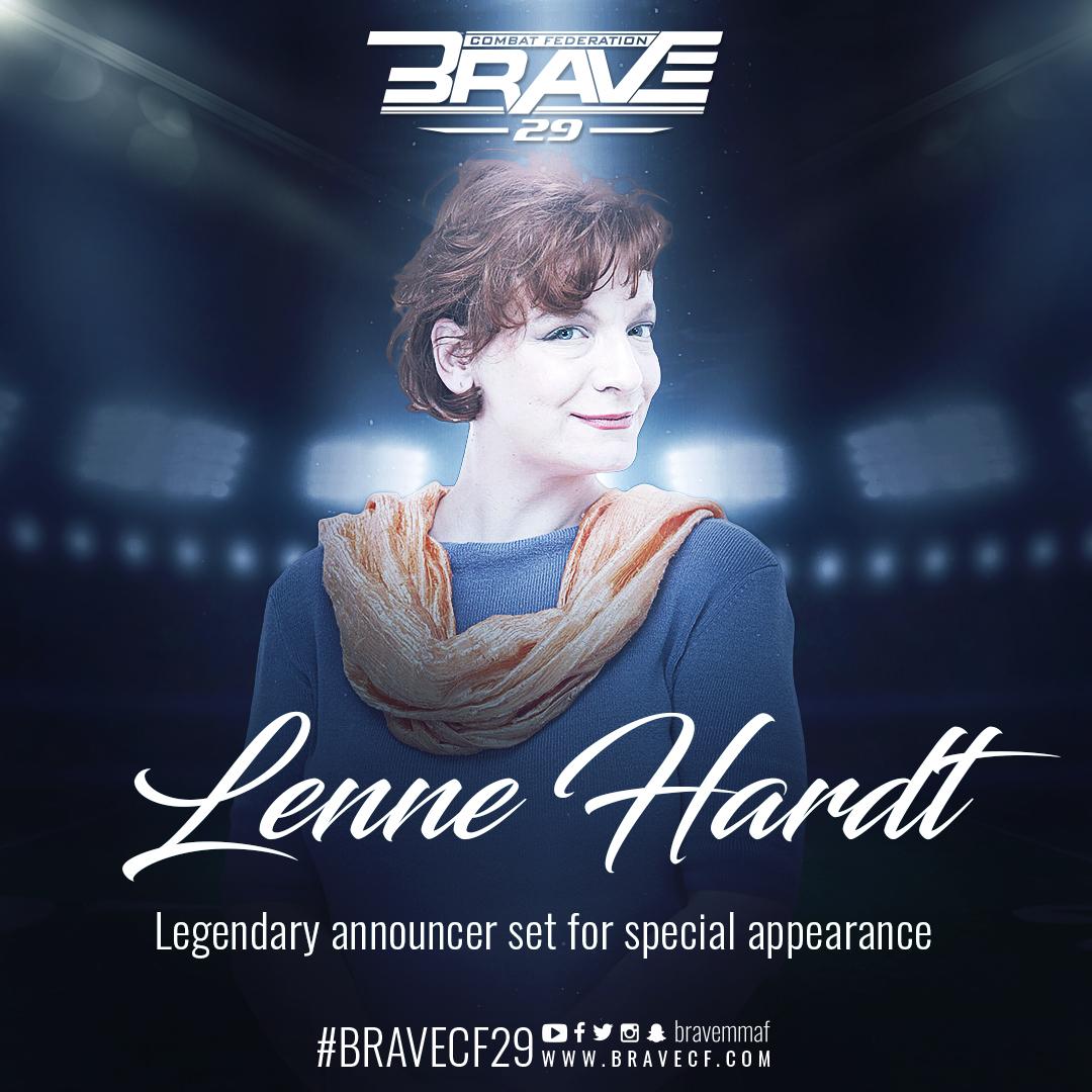 Legendary Lenne Hardt joins Carlos Kremer as announcing dream team for BRAVE CF 29 - Brave Combat Federation