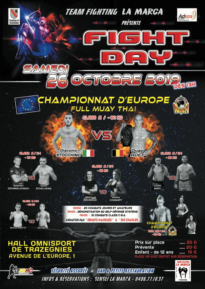 Fight Day Trazegnies: Huet vs. Stocchino for WKN European Featherweight title in Muay Thai - WKNMMA