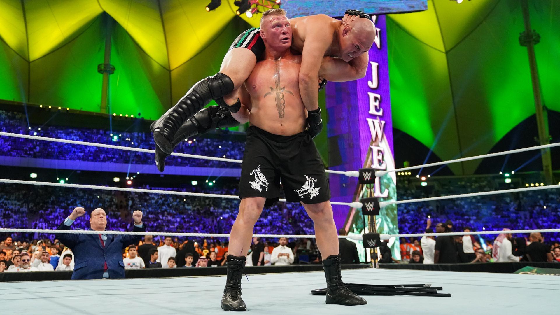 Brock Lesnar destroys Cain Velasquez at WWE Crown Jewel - Lesnar