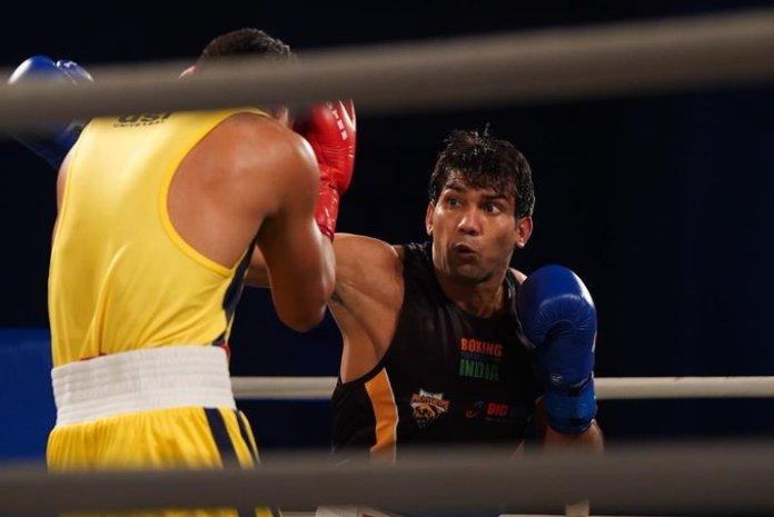 Manoj Kumar of Punjab Panthers defeater Rakhmanov of Odisha Warriors in the big bout league