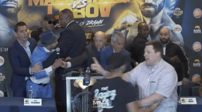 VIDEO. Artem Lobov, prietenul lui McGregor, scuipat într-o conferință de presă de viitorul său adversar la box fără mănuși!