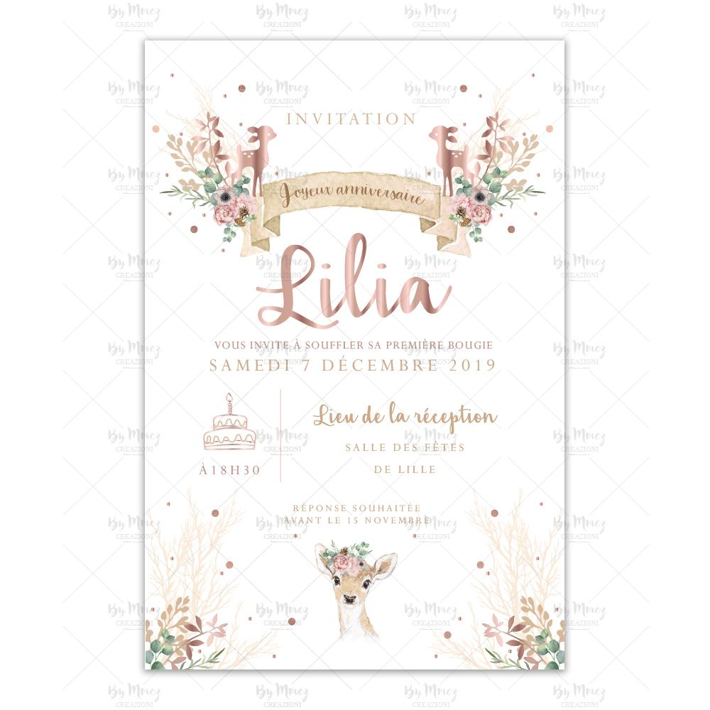 invitation anniversaire theme biche foret rose creme