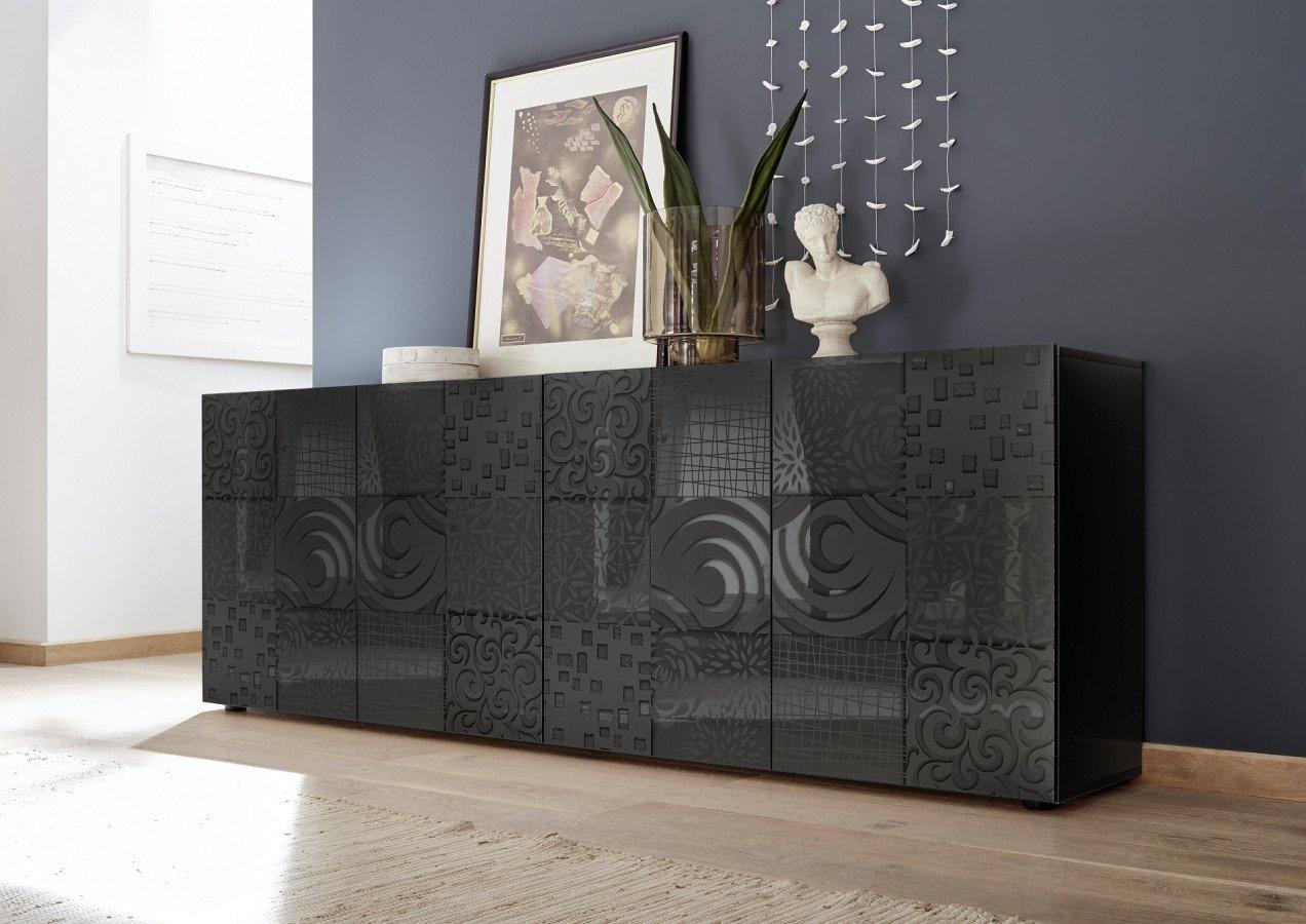 bahut design anthracite laque avec motifs maranello
