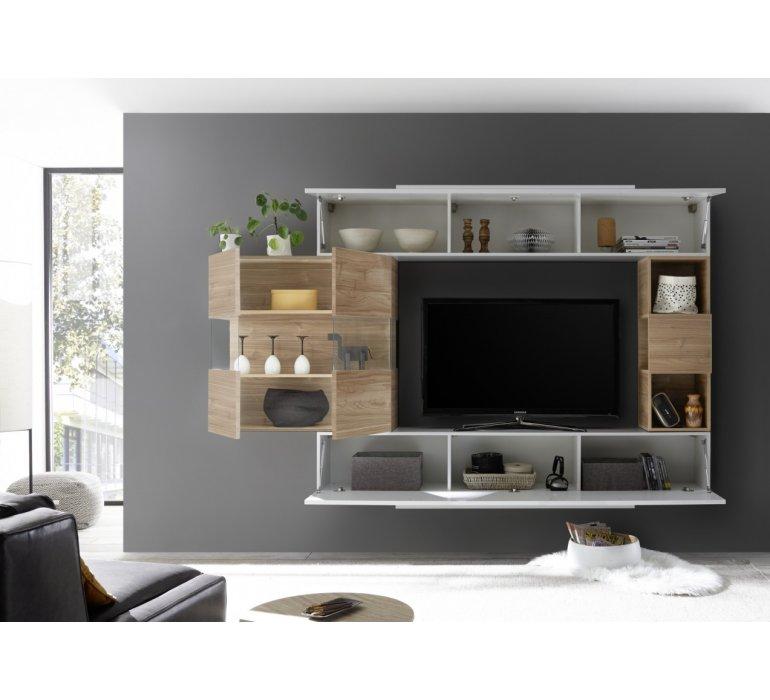 meuble tv suspendu design blanc et gris palermo