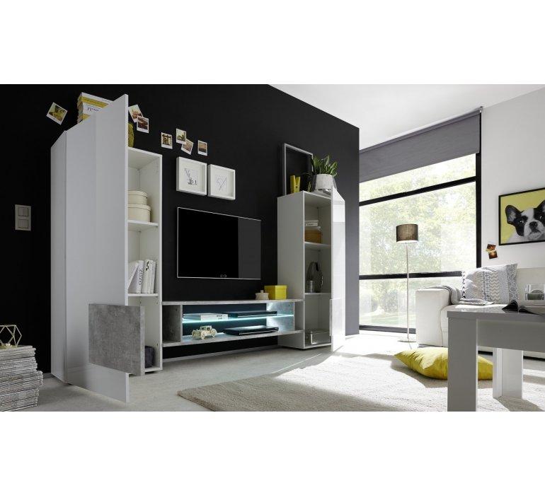 meuble tv mural design blanc laque et noir roma