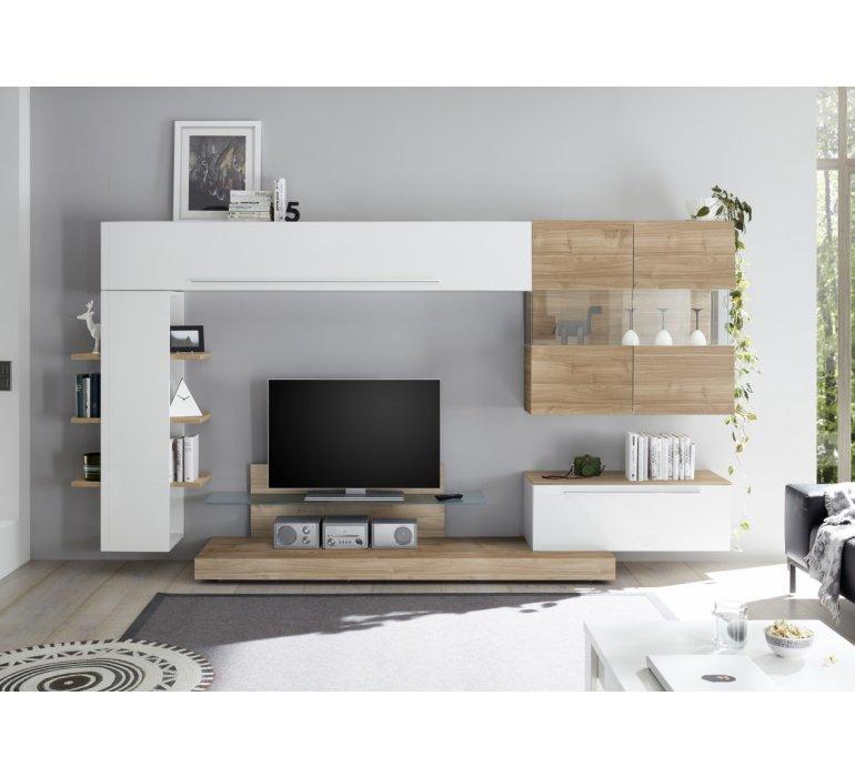 meuble tv mural blanc laque et bois design georges