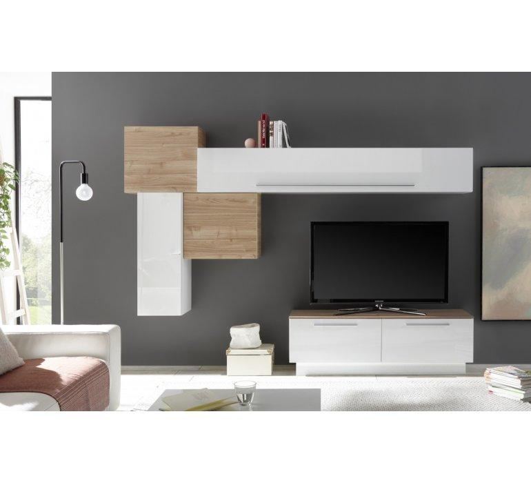 meuble tv mural moderne blanc laque et bois harry