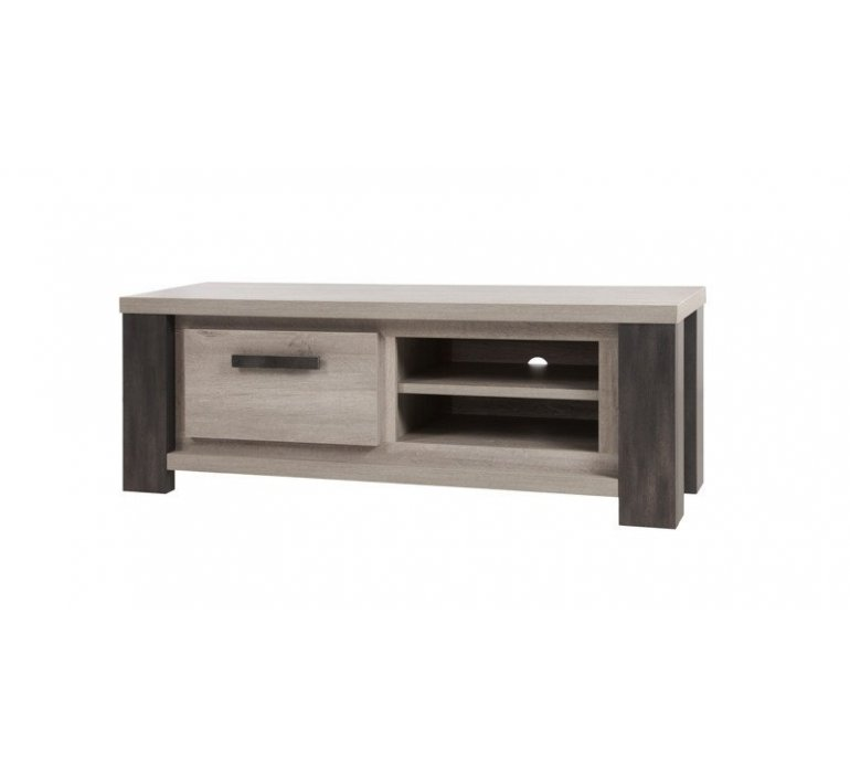 banc tv chene gris clair et anthracite contemporain alteo