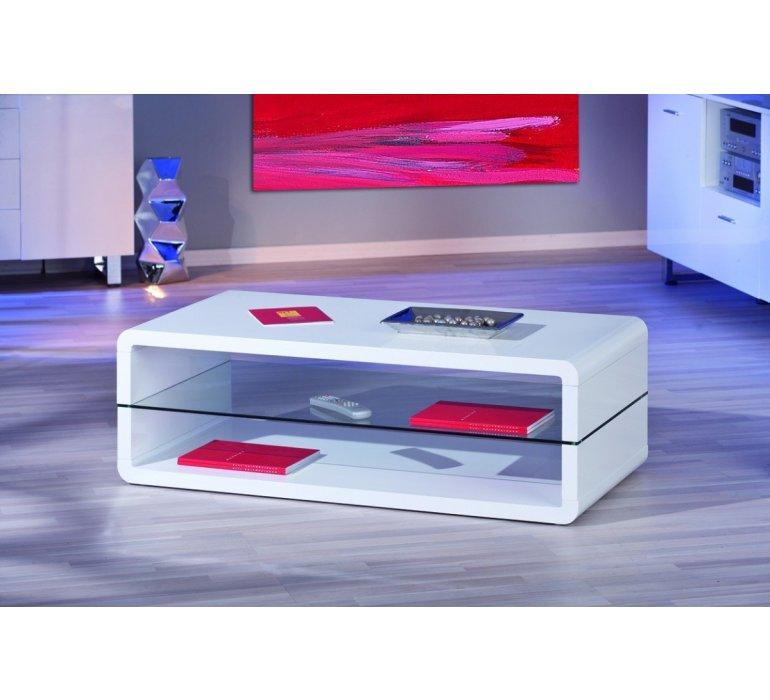 table basse blanc laque et verre design giulia