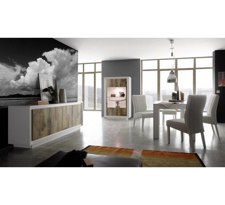 salle a manger blanc laque et effet bois vieilli moderne fauve