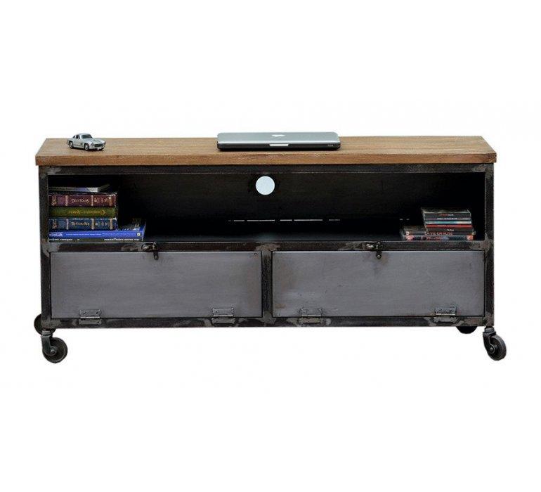 meuble tv metal et bois sur roulettes industriel harlem