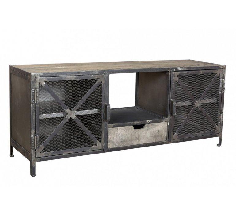 banc tv porte grillagee metal industriel iron