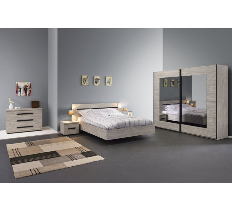 chambre a coucher chene gris et anthracite contemporain melvin