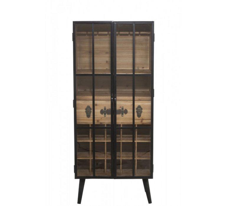 meuble bar industriel 2 portes vitrees bois et metal drink