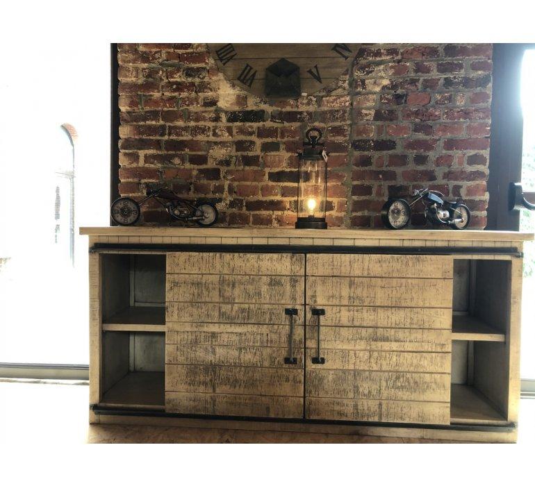 buffet industriel portes coulissantes bois et metal loft