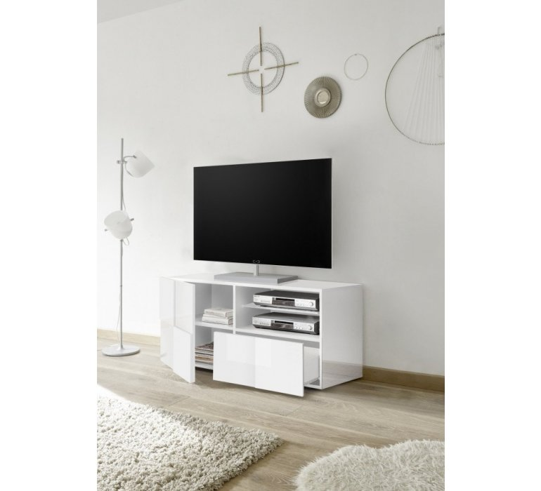 meuble tv blanc laque design lazio