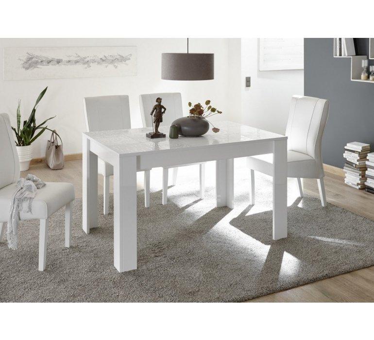 table a manger blanc laque avec motifs design vintimille