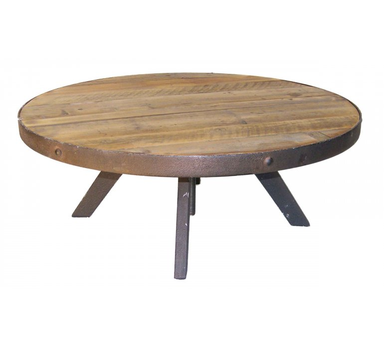 table basse ronde industrielle bois et metal reglable jersey