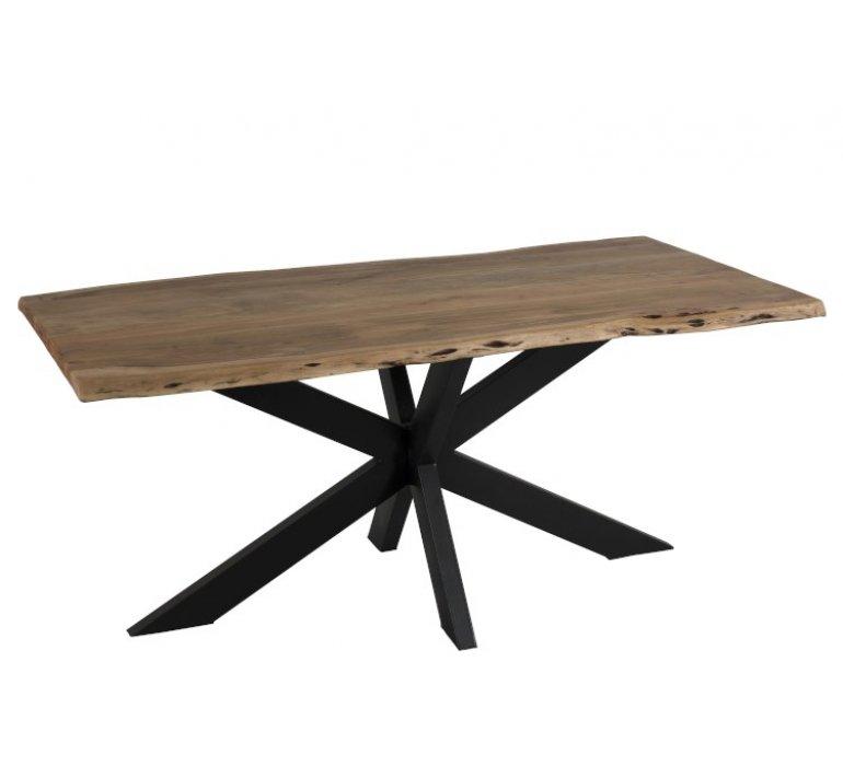 table industrielle bois massif bords irreguliers et metal kamille