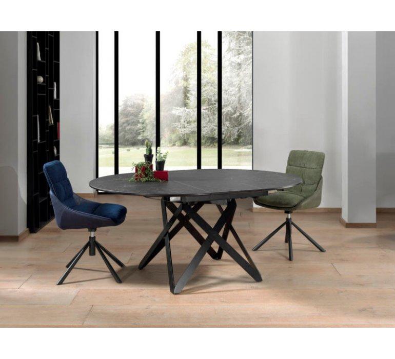 table ronde avec rallonge en ceramique moderne aramis