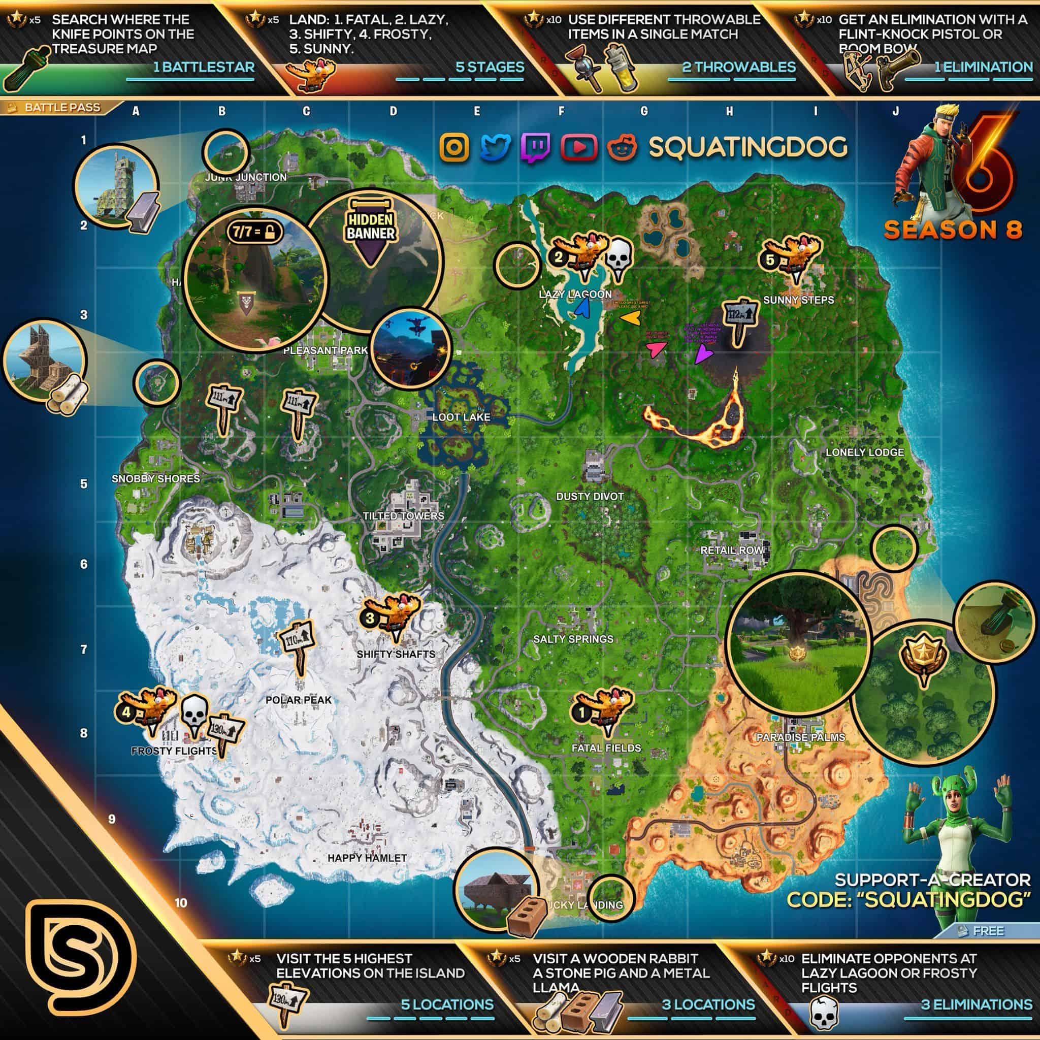Busca Entre Tres Asientos Gigantescos Desafios Semana 8 Fortnite