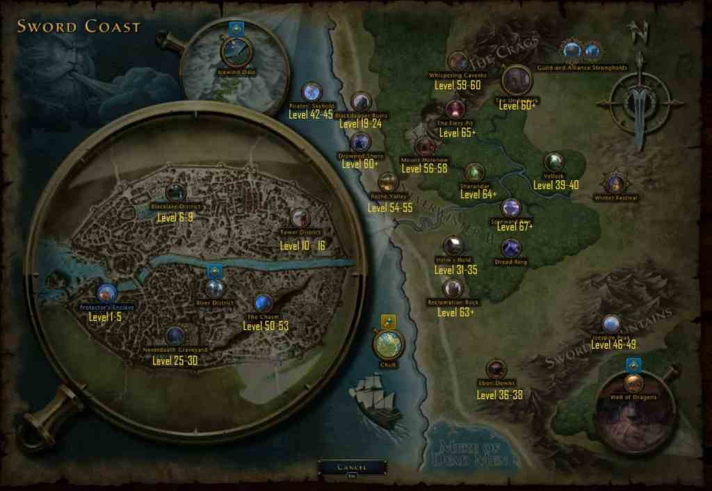 Neverwinter Leveling Guide Map
