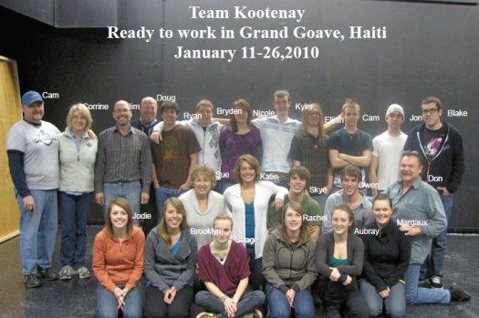 Kootenay Christian Fellowship team and High School youth
