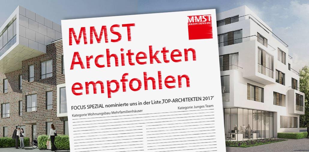 Focus Spezial und das Architektur-Magazin Baumeister zählen MMST Architekten zu den Top-Architekturbüros im Bereich Wohnungsbau Mehrfamilienhäuser.