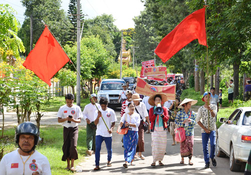Farmers in Mandalay Region's Pyin Oo Lwin township protest in June to against the confiscation of their land. (Si Thu Lwin/The Myanmar Times)