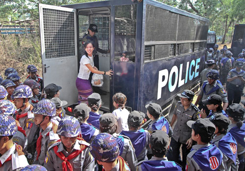 Students arrested in a police crackdown on their peaceful protests against the education law in March 2015 arrive for a court hearing on May 12, 2015. Lawyers and activists complain the trial is taking too long. Photo: Aung Myin Ye Zaw / The Myanmar Times