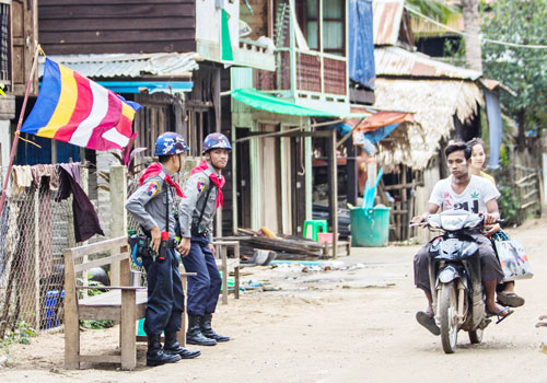 Police have been stationed throughout Thaye Thamain, including in front of Abdul Rashid's home. Photo: Naing Wynn Htoon / The Myanmar Times