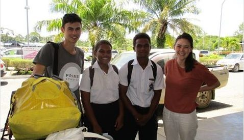 John & Rachel from the UK with Saint Nicholas students (Head Boy & Girl)